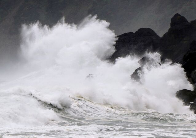 High waves triggered by Typhoon Haishen crash against the coast of Amami Oshima island, Kagoshima prefecture, Japan September 5, 2020.