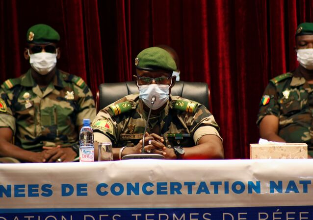 Colonel Malick Diaw, one of the junta leaders of the National Committee for the Salvation of the People (CNSP), which overthrew Mali's President Ibrahim Boubacar Keita,attends a meeting with representatives of political parties and civil society groups to discuss forming a transitional government in Bamako, Mali September 5, 2020.