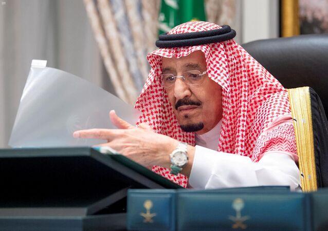 Saudi Arabia's King Salman bin Abdulaziz attends a virtual cabinet meeting in Neom, Saudi Arabia August 18, 2020. Picture taken August 18, 2020.
