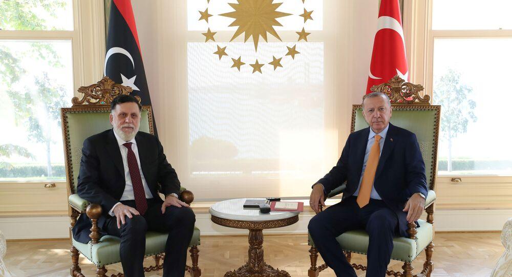 Turkey's President Tayyip Erdogan meets with Libya's internationally recognised Prime Minister Fayez al-Sarraj in Istanbul, Turkey, September 6, 2020.