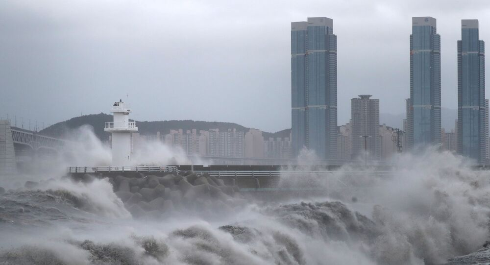 High waves caused by Typhoon Haishen crash at seawall in Busan, South Korea, September 7, 2020.