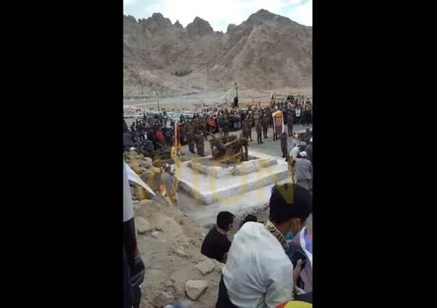 Special Frontier Forces's Nima Tenzin being cremated in Ladakh amidst presence of Tibetan community & Tibetan holy prayers