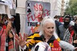 Fashion designer Vivienne Westwood at a rally outside the Old Bailey in London, UK.