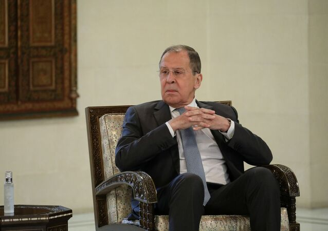 Russian Foreign Minister Sergei Lavrov attends a meeting with Syrian President Bashar al-Assad in Damascus, Syria September 7, 2020