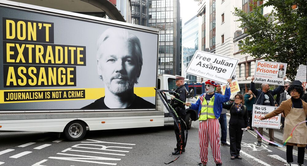 Supporters of WikiLeaks founder Julian Assange are seen outside the Old Bailey, the Central Criminal Court ahead of a hearing to decide whether Assange should be extradited to the United States, in London, Britain September 7, 2020. REUTERS/Peter Nicholls