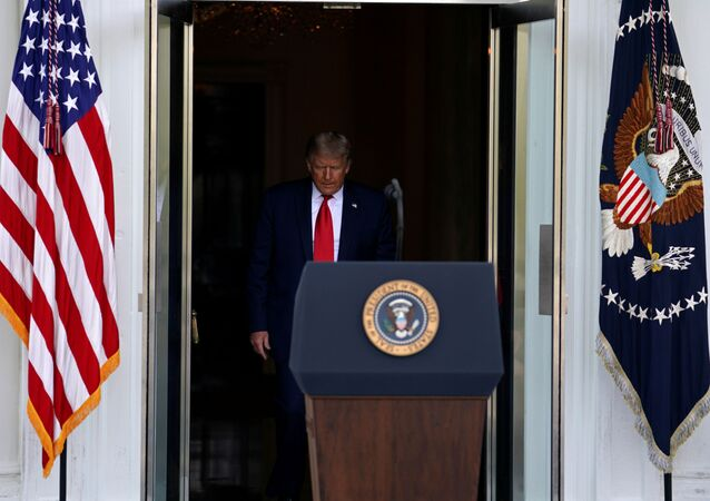 U.S. President Donald Trump arrives to deliver remarks at the North Portico of the White House in Washington, U.S., September 7, 2020.