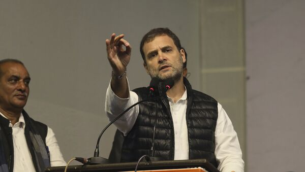 Congress party leader Rahul Gandhi, speaks during an election campaign rally for the upcoming Delhi elections, in New Delhi, India, Tuesday, Feb. 4, 2020 - Sputnik International
