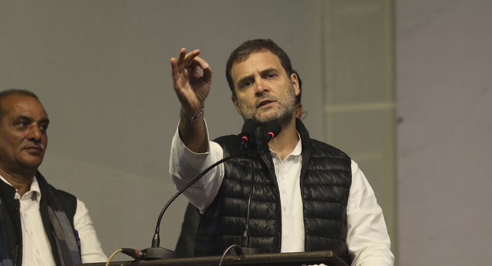 Congress party leader Rahul Gandhi, speaks during an election campaign rally for the upcoming Delhi elections, in New Delhi, India, Tuesday, Feb. 4, 2020