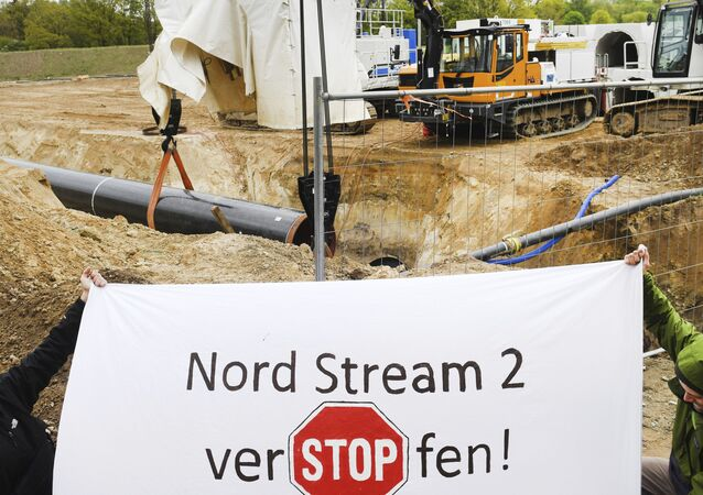 Activists occupy a German pipeline building site in Wrangelsburg, northern Germany, Thursday, May 16, 2019