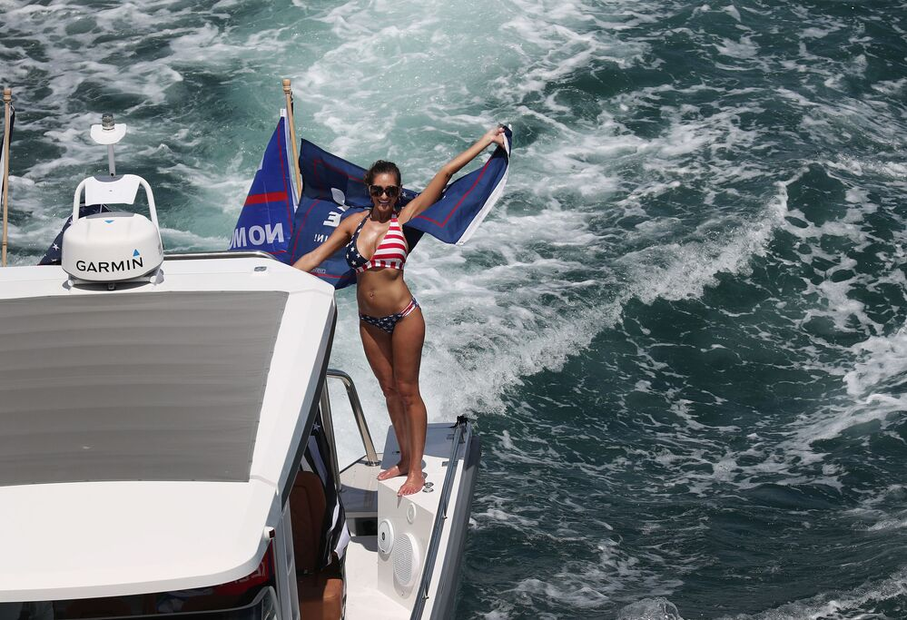 Boaters show their support for President Donald Trump during a parade down the Intracoastal Waterway to just off the shore of President Trump's home at Mar-a-Lago on September 07, 2020 in West Palm Beach, Florida.