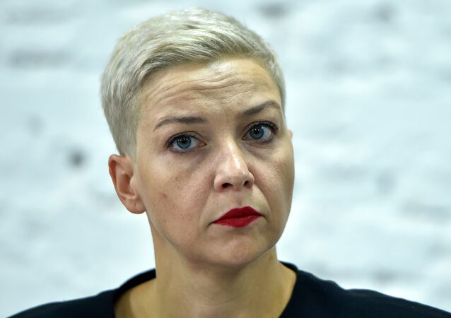 In this file photo taken on August 24, 2020 opposition figure Maria Kolesnikova, a member of the Coordination Council formed by the opposition to oversee efforts for a peaceful transition of power, attends a press conference on the 16th day of protests over disputed presidential elections results in Minsk. - Kolesnikova's office said witnesses described her being snatched off the street in the capital Minsk on September 7, 2020 morning by unidentified men in black who bundled her into a minibus marked Communications. Belarusian border guards said she had been detained while trying to cross the Ukrainian border, but Kiev said she was being held after resisting a forced deportation.