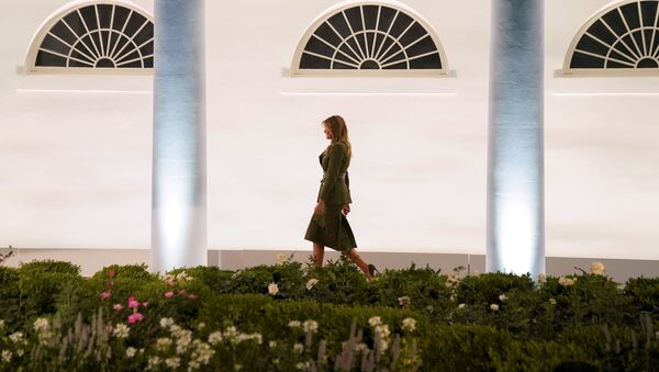 U.S. first lady Melania Trump walks up the White House West Wing colonnade as she arrives to deliver her live address to the largely virtual 2020 Republican National Convention from the Rose Garden of the White House in Washington, U.S., August 25, 2020. REUTERS/Kevin Lamarque     TPX IMAGES OF THE DAY - Sputnik International