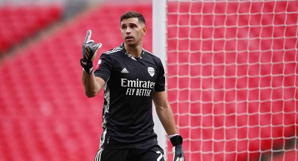 Arsenal's Emiliano Martinez, as play resumes behind closed doors following the outbreak of the coronavirus disease (COVID-19)