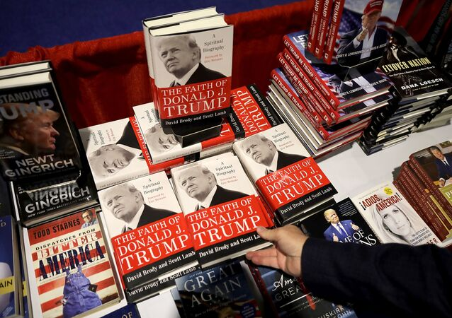 Books about Donald Trump and other right wing subjects are for sale inside the Conservative Political Action Conference Hub at the Gaylord National Resort and Convention Center in National Harbor, Maryland, 23 February 2018