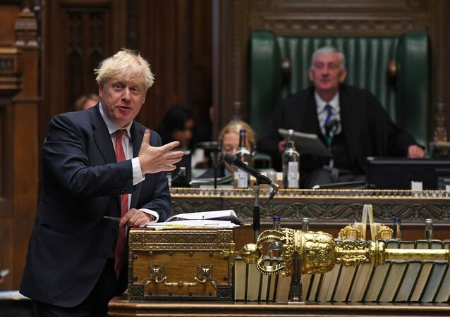 Britain's Prime Minister Boris Johnson speaks during question period at the House of Commons in London, 2 September 2020