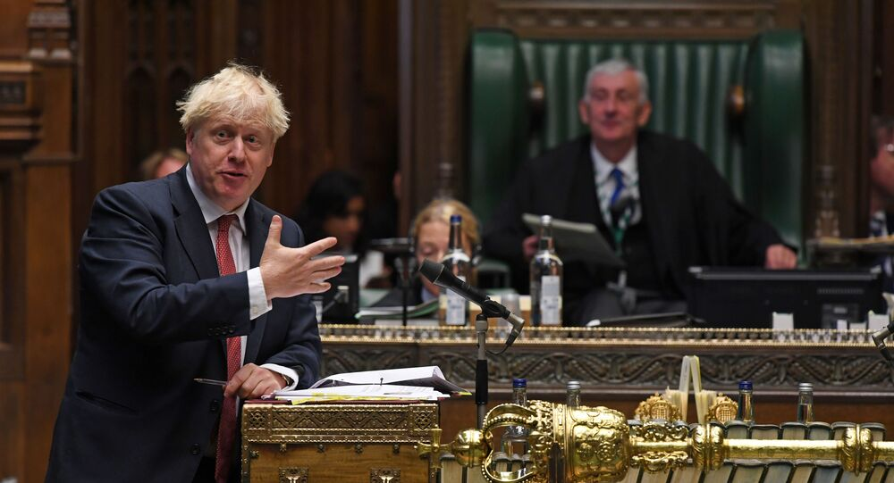 Britain's Prime Minister Boris Johnson speaks during question period at the House of Commons in London, Britain September 2, 2020