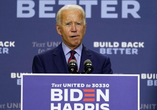 Democratic presidential candidate former Vice President Joe Biden speaks about the economic crisis in Wilmington, Del., Friday Sept. 4, 2020