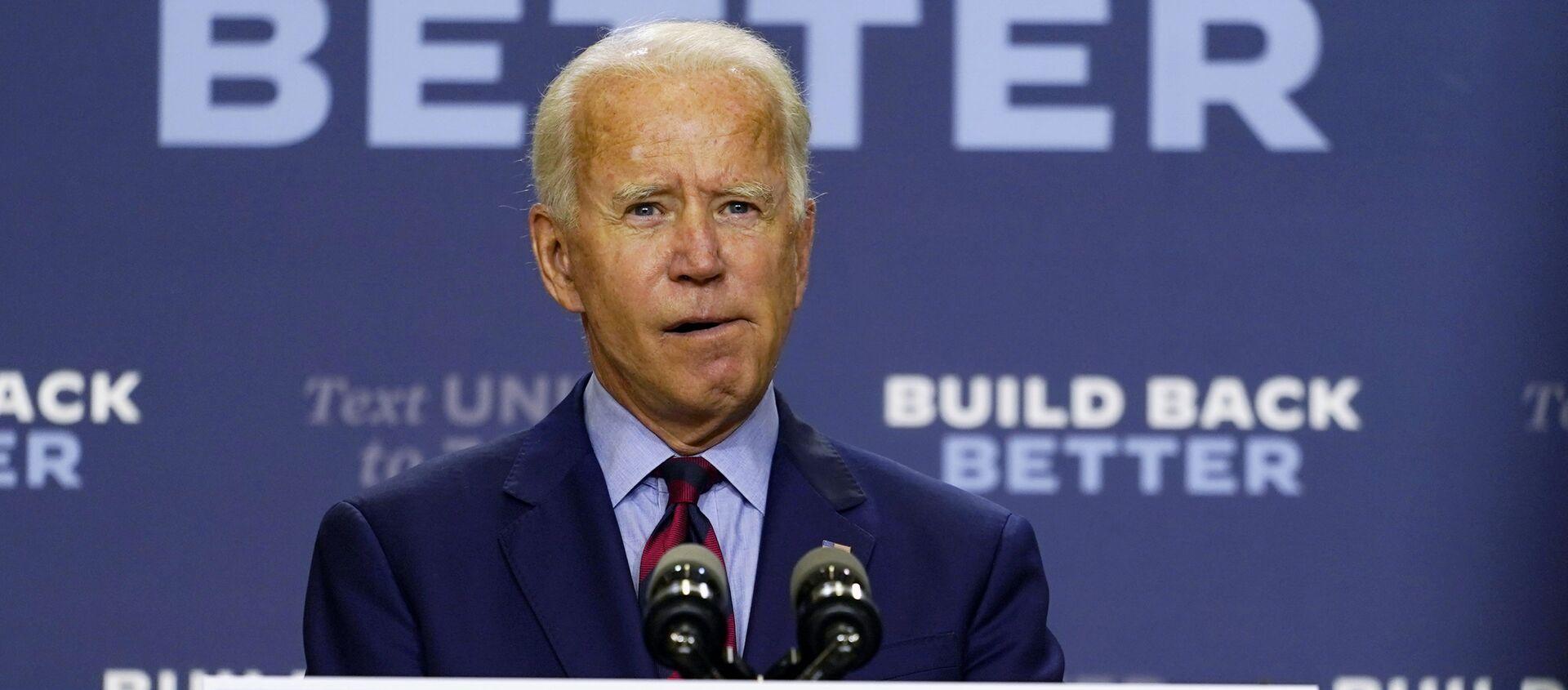 Democratic presidential candidate former Vice President Joe Biden speaks about the economic crisis in Wilmington, Del., 4 September 2020 - Sputnik International, 1920, 21.09.2020