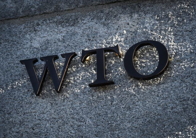 A sign of the World Trade Organization (WTO) is seen at the trade intergovernmental organization headquarters in Geneva on December 10, 2019.