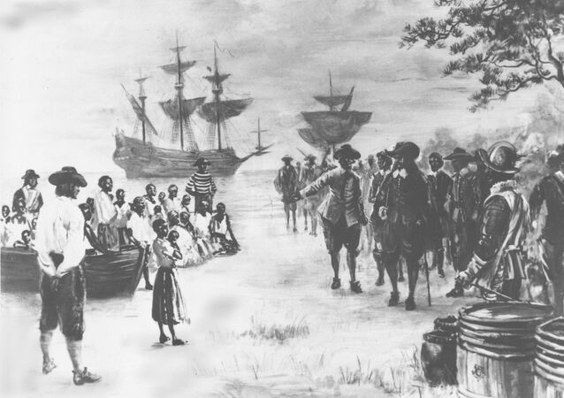 A painting by Sidney King depicts Virginia in 1619 as a Dutch frigate docks at Point Comfort bringing the first African slaves.