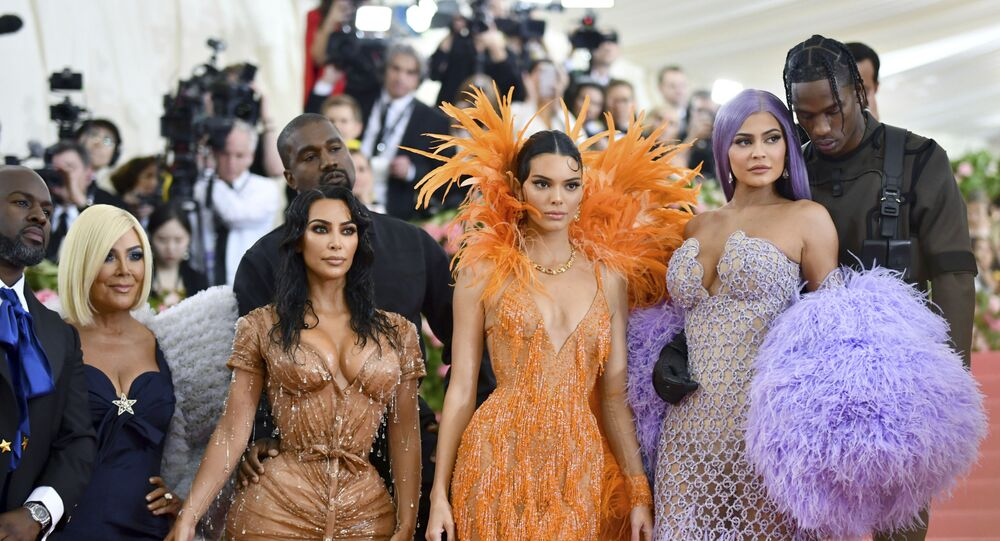 Corey Gamble, from left, Kris Jenner, Kim Kardashian, Kanye West, Kendall Jenner, Kylie Jenner and Travis Scott attend The Metropolitan Museum of Art's Costume Institute benefit gala celebrating the opening of the Camp: Notes on Fashion exhibition on Monday, May 6, 2019, in New York.