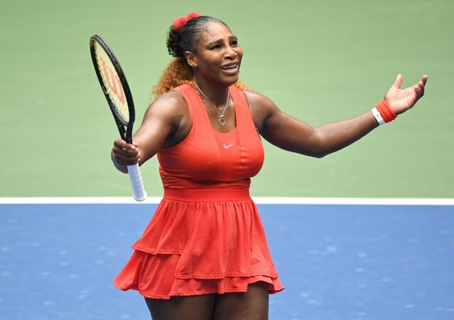 Sep 9 2020; Flushing Meadows, New York,USA; Serena Williams of the United States reacts after losing a point against Tsvetana Pironkova of Bulgaria (not pictured) in a women's singles quarter-finals match on day nine of the 2020 U.S. Open tennis tournament at USTA Billie Jean King National Tennis Center.