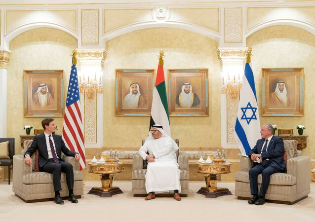 Israeli National Security Advisor Meir Ben-Shabbat, U.S. President's senior adviser Jared Kushner and Minister of State for Foreign Affairs of United Arab Emirates Anwar Gargash hold a meeting in Abu Dhabi, United Arab Emirates August 31, 2020.