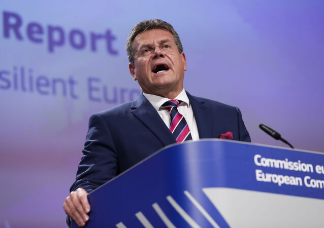 European Commissioner for Inter-institutional Relations and Foresight Maros Sefcovic talks to journalists during a news conference at the European Commission headquarters in Brussels, Wednesday, Sept. 9, 2020