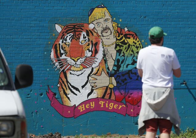 A man looks at a mural depicting Joseph Maldonado-Passage, also known as Joe Exotic, in Dallas, Friday, April 10, 2020. The Netflix series Tiger King, has become popular watching during the COVID-19 outbreak. Maldonado-Passage was convicted in an unsuccessful murder-for-hire plot.