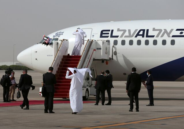 The Israeli flag carrier El Al's airliner carrying Israeli and U.S. delegates is seen after landing at Abu Dhabi International Airport, in Abu Dhabi, United Arab Emirates August 31, 2020.