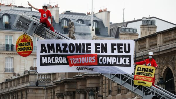 Greenpeace activists stand on a fire truck during an action in front of the Elysee Palace to protest against the ongoing damage to the Amazon rain forest, in Paris, France, September 10, 2020. The slogan reads Amazon on fire. Macron still complicit. - Sputnik International