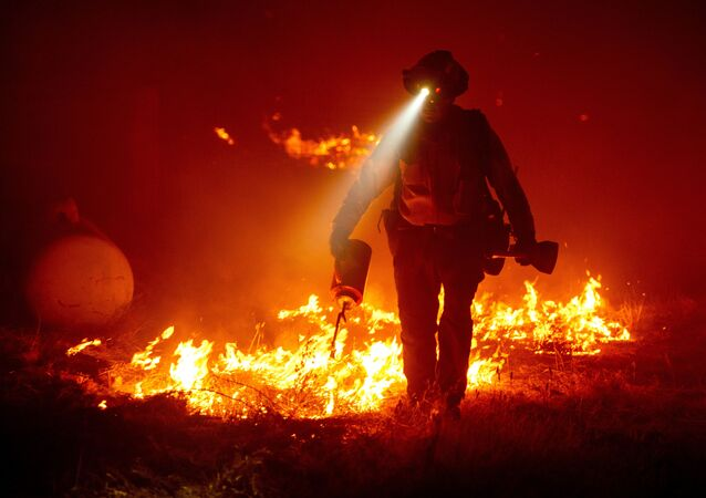 Firefighters cut defensive lines and light backfires to protect structures behind a CalFire fire station during the Bear fire, part of the North Lightning Complex fires in the Berry Creek area of unincorporated Butte County, California on September 9, 2020