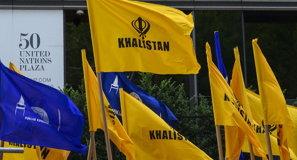 Khalistan flags fly as Sikhs for Justice hold a march and rally at the United Nations Headquarters on Indian Independence day, highlighting the human rights abuses of Sikhs in Punjab by Indian Prime Minister Narendra Modi's government August 15, 2019 in New York.