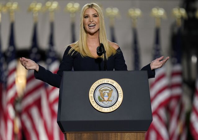 vanka Trump speaks to introduce President Donald Trump from the South Lawn of the White House on the fourth day of the Republican National Convention, Thursday, Aug. 27, 2020