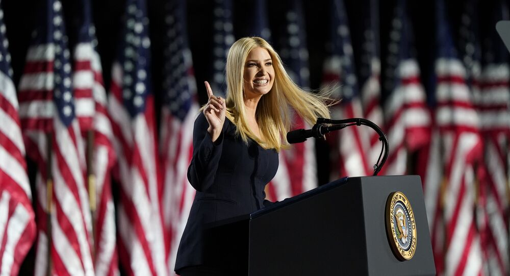 Ivanka Trump speaks from the South Lawn of the White House on the fourth day of the Republican National Convention, Thursday, Aug. 27, 2020, in Washington