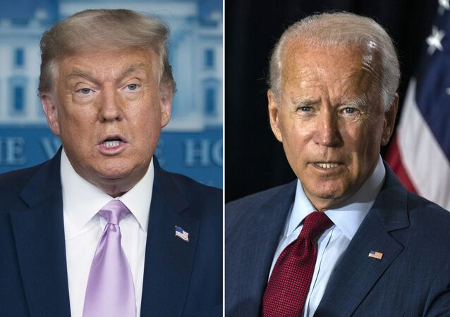 In this combination photo, president Donald Trump, left, speaks at a news conference on Aug. 11, 2020, in Washington and Democratic presidential candidate former Vice President Joe Biden speaks in Wilmington, Del. on Aug. 13, 2020.