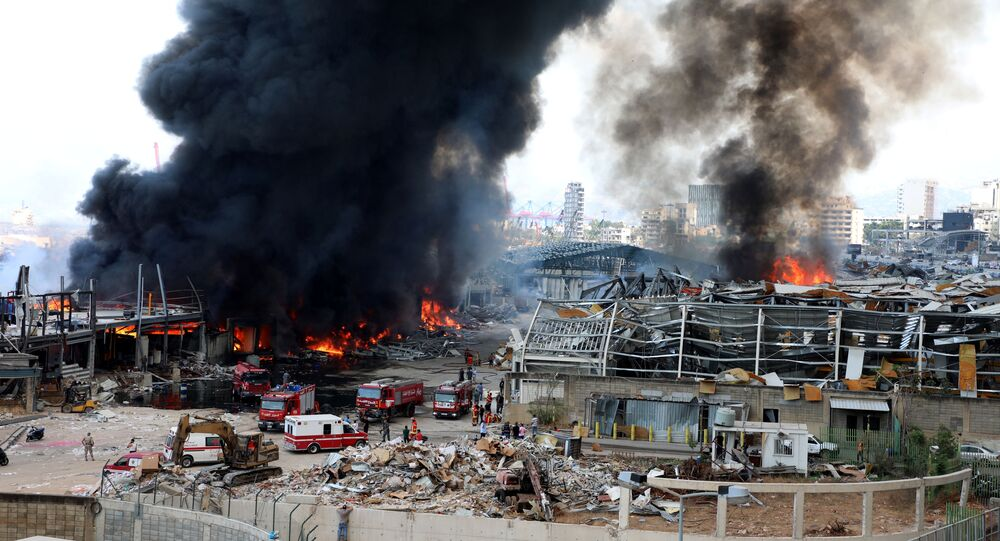 A view shows the site of a fire that broke out at Beirut's port area, Lebanon September 10, 2020.