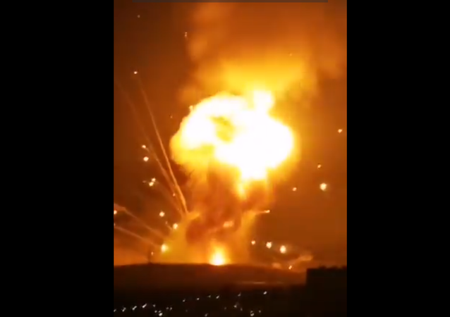 Screenshot from a video allegedly showing a massive explosion hitting the outskirts of Jordanian city of Zarqa