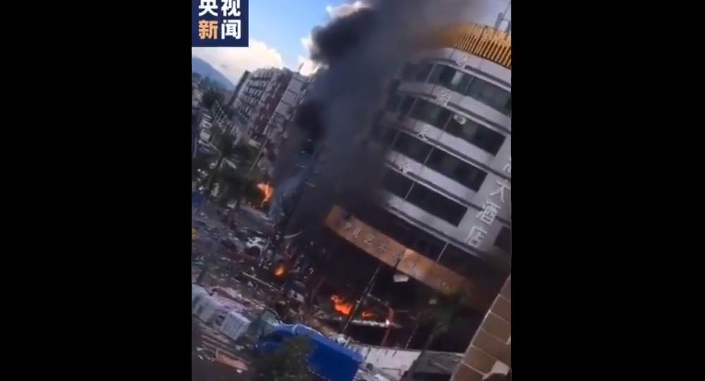 Screenshot from a video showing the aftermath of the explosion at the hotel in Chinese city of Zhuhai