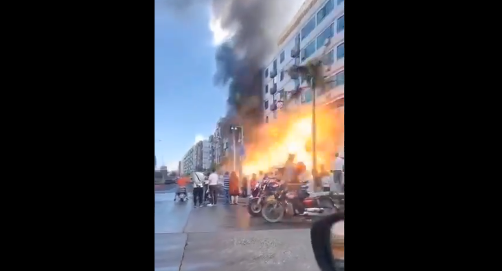 Screenshot from the video showing a moment of explosion near the hotel in the Chinese city of Zhuhai