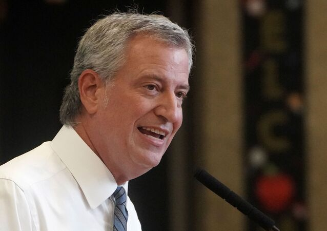 New York City Mayor Bill de Blasio speaks at a news conference after a tour of P.S. 59 following the coronavirus outbreak in Brooklyn, New York City, 2 September 2020.
