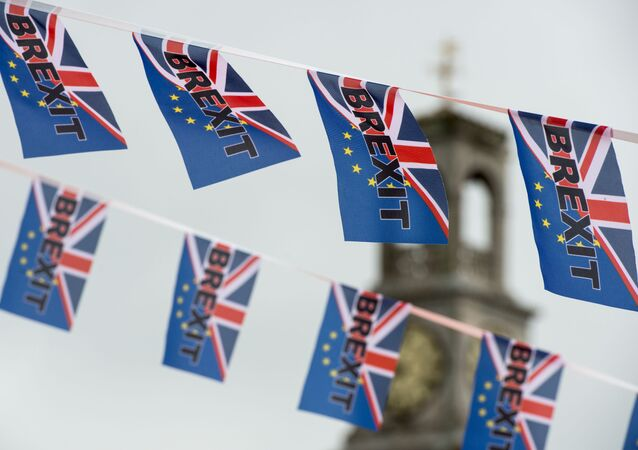 Pro-Brexit flags fly from a fishing boat moored in Ramsgate on June 13, 2016.
