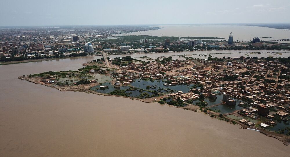 An aerial view shows buildings and roads submerged by floodwaters near the Nile River in South Khartoum, Sudan September 8, 2020. Picture taken September 8,2020 with a drone