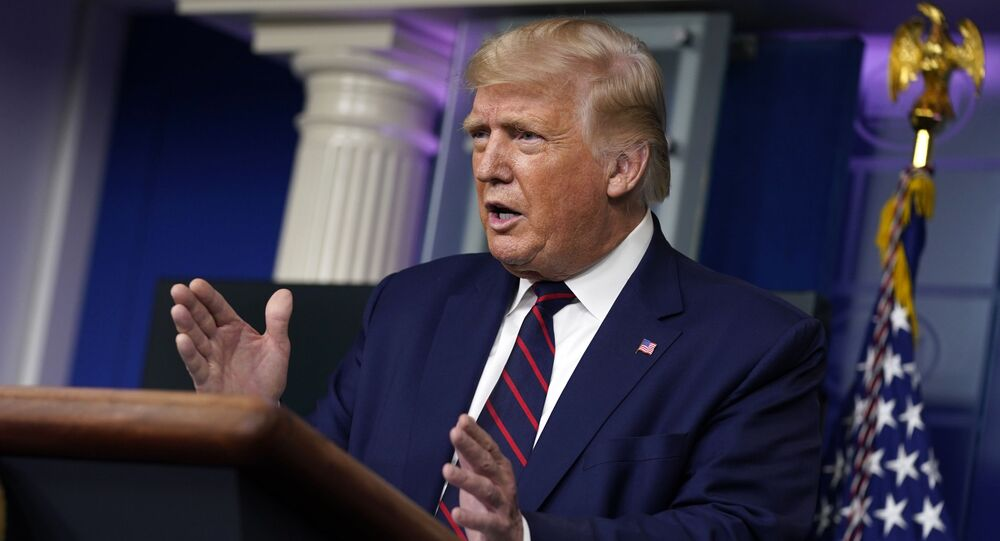 President Donald Trump speaks during a news conference in the James Brady Press Briefing Room at the White House, Friday, Sept. 4, 2020, in Washington