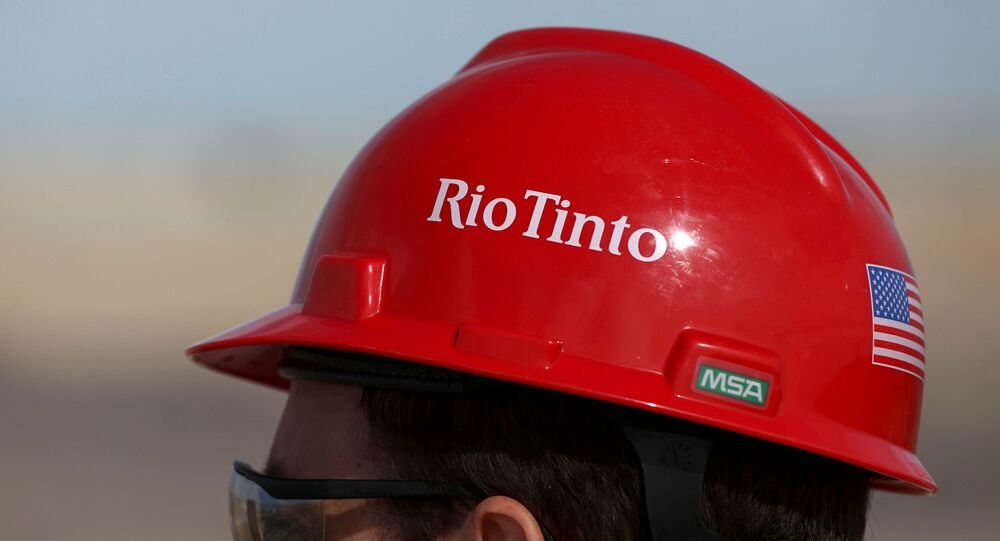 The Rio Tinto logo is displayed on a visitor's helmet at a borates mine in Boron, California, U.S., November 15, 2019