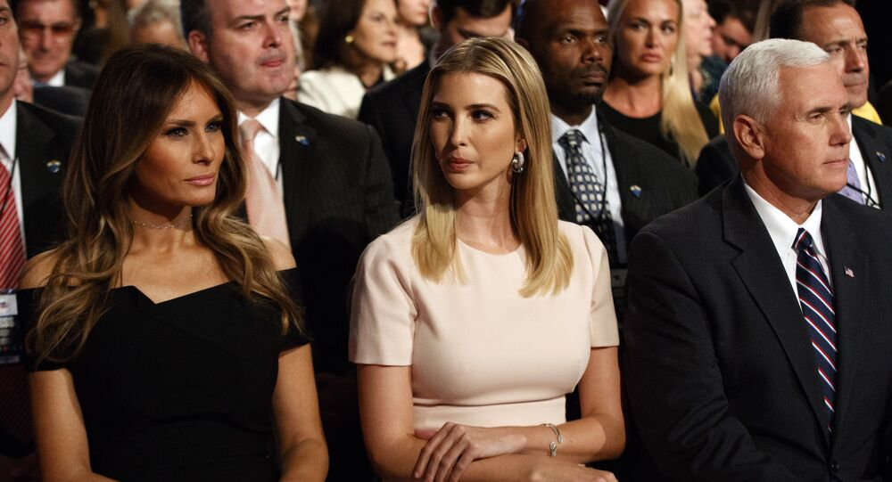 Melania Trump, left, Ivanka Trump, center, and vice presidential candidate Indiana Gov. Mike Pence wait for the beginning of the first presidential debate between Republican presidential candidate Donald Trump and Democratic presidential candidate Hillary Clinton at Hofstra University, Monday, Sept. 26, 2016, in Hempstead, N.Y