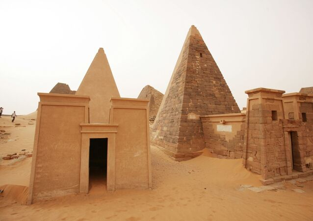 In this Saturday, March 10, 2012 photo, a general view shows some of Sudan's 144 pyramids of the Meroitic kings and queens in Meroe, 202 kilometers (125 miles) north of Khartoum, Sudan