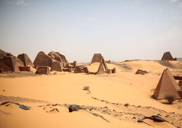 This Thursday, 16 April 2015 photo shows a general view of the historic Meroe pyramids site, in al-Bagrawiya, 200 kilometres (125 miles) north of Khartoum, Sudan