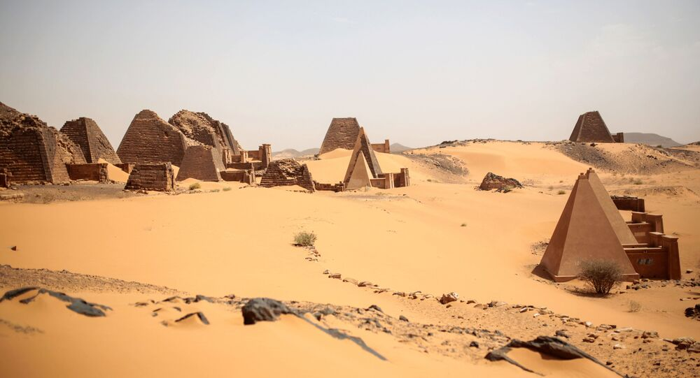 This Thursday, April 16, 2015 photo, shows a general view of the historic Meroe pyramids site, in al-Bagrawiya, 200 kilometers (125 miles) north of Khartoum, Sudan