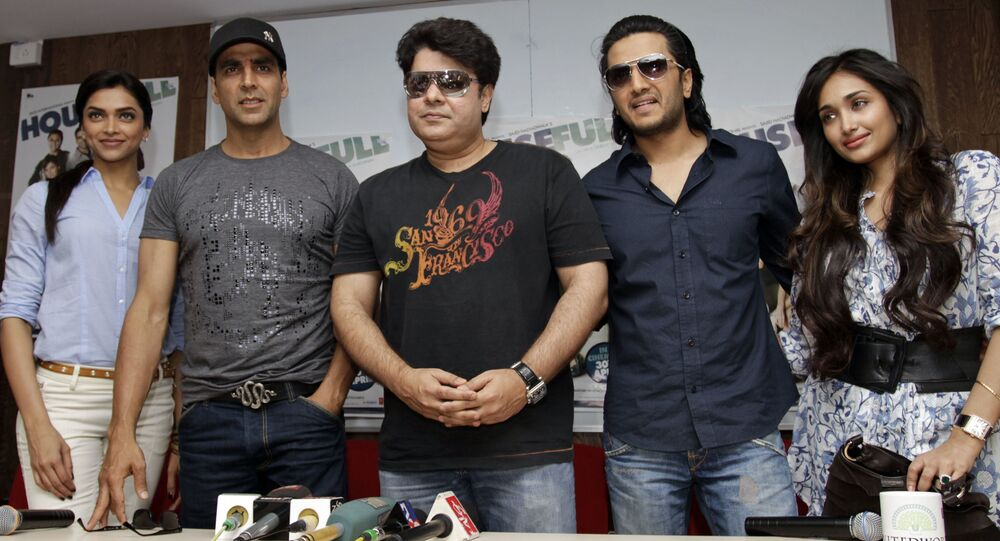 Sajid Khan, center, during a press conference to promote film 'Houseful' in Ahmadabad, India